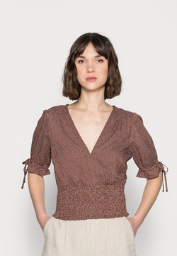 Abercrombie & Fitch - TIE SLEEVE SMOCK WAIST - Bluse - brown dot