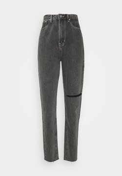 Missguided Tall - WASHED SINGLE THIGH RIP RIOT - Jean droit - black