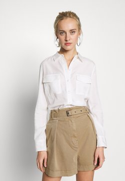 Marc O'Polo - BLOUSE LONG SLEEVE PATCHED POCKETS - Koszula - oyster white
