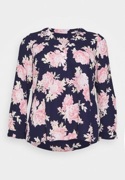 Dorothy Perkins Curve - FLORAL ROLL SLEEVE - Bluse - navy