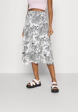 Monki - LUMI SKIRT - Falda acampanada - white light