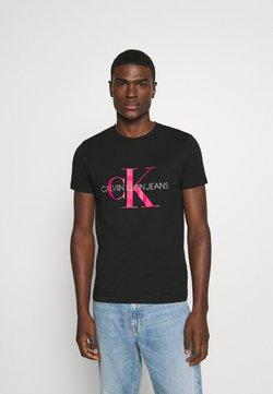 Calvin Klein Jeans - MONOGRAM LOGO SLIM TEE - Printtipaita - black/party pink
