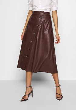 Who What Wear - MIDI SKIRT - A-Linien-Rock - coffee