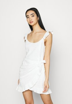NA-KD - DETAIL DRESS - Juhlamekko - white