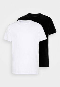 Pier One - 2 PACK  - T-shirt basique - white/black