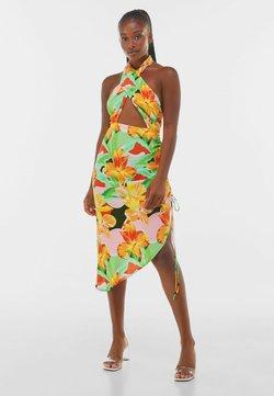 Bershka - MIT PRINT UND RAFFUNG  - Robe d'été - orange