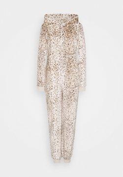 Loungeable - LEOPARD PRINT LUXURY ONESIE EMBROIDERED HOOD - Pyjama - brown