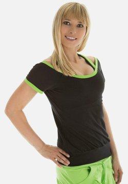 Winshape - T-shirt print - schwarz apfelgrün