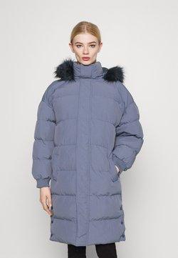 Missguided - TRIM HOODED LONGLINE PUFFER - Winter coat - blue