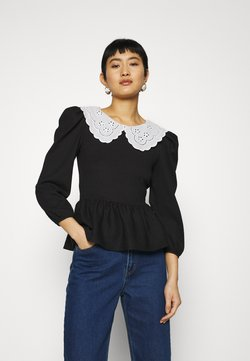 Dorothy Perkins - EMBROIDERED COLLAR TEXTURED - Camicetta - black