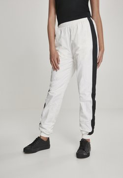 Urban Classics - LADIES STRIPED CRINKLE PANTS - Jogginghose - wht/blk