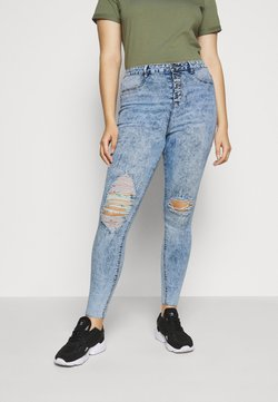Missguided Plus - BUTTON FRONT LAWLESS - Jeans Skinny - acid wash