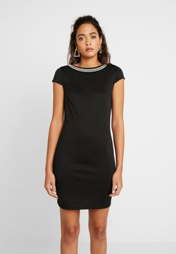 Vila - VISABINE CAPSLEEVE PEARL DRESS - Korte jurk - black