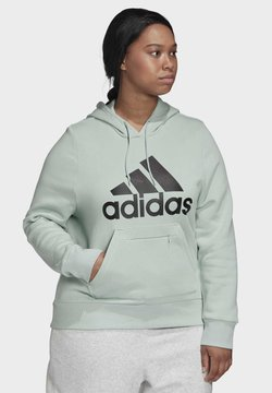 adidas Performance - BADGE OF SPORT HOODIE FLEECE HOODIE (PLUS SIZE) - Jersey con capucha - green