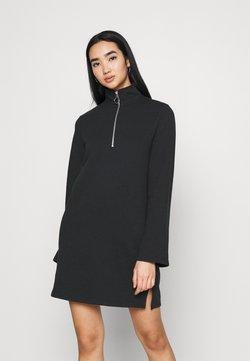 Even&Odd - SWEAT HIGH NECK MINI DRESS WITH HALF ZIP THROUGH - Vapaa-ajan mekko - black