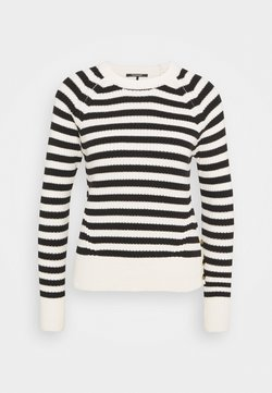 Scotch & Soda - CHUNKY BLEND WITH BUTTON DETAIL AT SIDE - Strickpullover - off-white/black