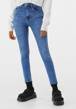 Bershka - SUPER HIGH WAIST - Slim fit -farkut - dark blue