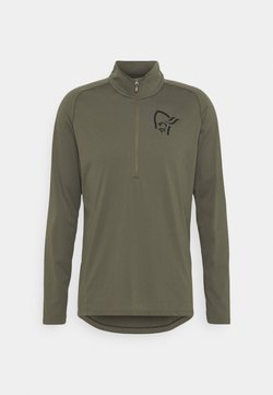 Norrøna - FJØRÅ EQUALISER LONG SLEEVE ZIP - Langarmshirt - olive night/caviar