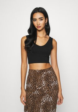 KENDALL + KYLIE - V NECK CROP - Top - black
