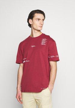 Topman - PLACEMENT TEE - T-Shirt print - burgundy