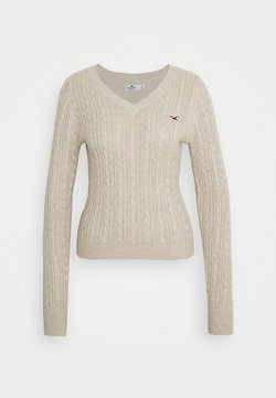 Hollister Co. - CABLE LAYER ON - Strickpullover - oatmeal