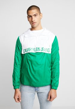 Calvin Klein Jeans - COLOR BLOCK POPOVER - Windbreaker - jolly green/bright white