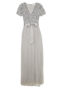 Maya Deluxe - STRIPE EMBELLISHED MAXI DRESS WITH BOW TIE - Abito da sera - soft grey