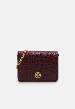 Tory Burch - WALKER EMBOSSED NANO WALLET ON CHAIN - Umhängetasche - claret