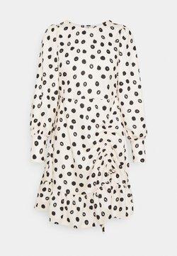 River Island - ROUCHED SKIRT MINI DRESS - Freizeitkleid - white/black