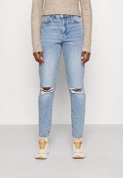 Gina Tricot Tall - DAGNY - Straight leg jeans - sea blue destroy