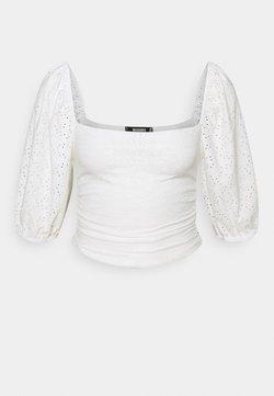 Missguided Petite - MILKMAID BRODERIE CROP - Camiseta de manga larga - white