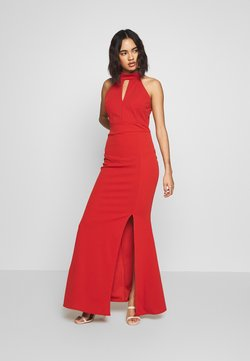 WAL G. - HALTER NECK WITH SPLIT - Maxi dress - rust