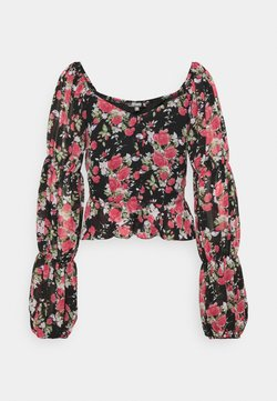 Missguided - FLORAL BUTTON THROUGH PUFF SLEEVE BLOUSE - Bluse - black