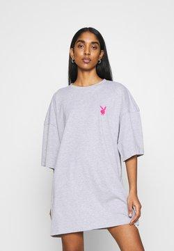 Missguided - PLAYBOY MISSION STATEMENT OVERSIZED T SHIRT DRESS - Jerseykleid - grey