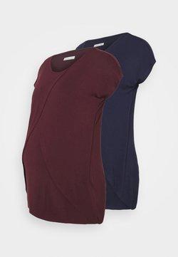 Anna Field MAMA - NURSING 2 PACK - T-Shirt print - dark blue/bordeaux