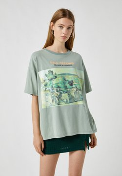 PULL&BEAR - T-shirt z nadrukiem - green