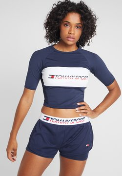 Tommy Sport - BLOCKED TEE CROPPED LOGO - T-Shirt print - blue