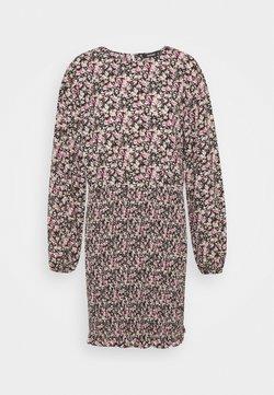 Missguided - FLORAL SHIRRED LONG SLEEVE MINI DRESS - Freizeitkleid - black