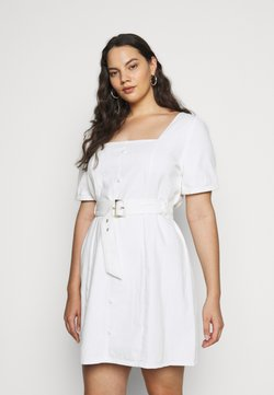 Missguided Plus - PLUS SELF BELTED PUFF SLEEVE MINI - Vestido informal - white
