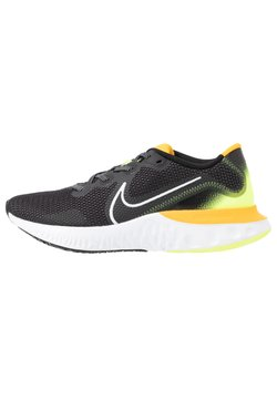 Nike Performance - RENEW RUN - Neutral running shoes - black/white/volt glow/university gold