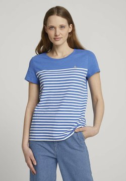 TOM TAILOR DENIM - STRIPEDTEE WITH EMBRO - T-Shirt print - mid blue
