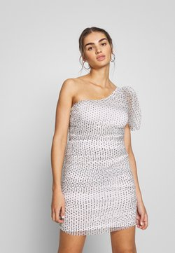 Missguided - POLKA DOT ONE SHOULDER RUCHED PUFF SLEEVE MINI DRESS - Sukienka koktajlowa - white