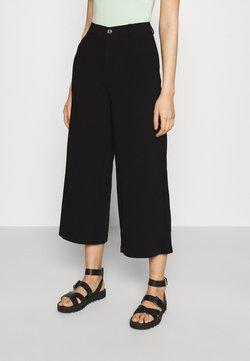 Even&Odd - Wide cropped leg pants - Pantaloni - black