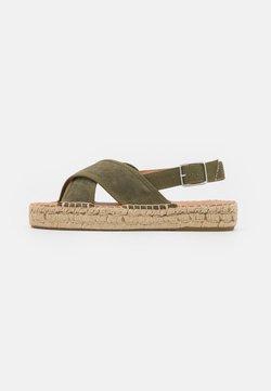 Zign - Korkeakorkoiset sandaalit - khaki