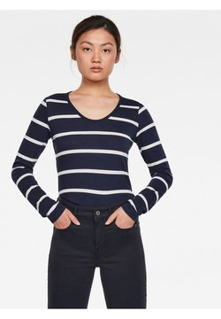 G-Star - CORE EYBEN SLIM U LONG SLEEVE - Langarmshirt - sartho blue monk stripe