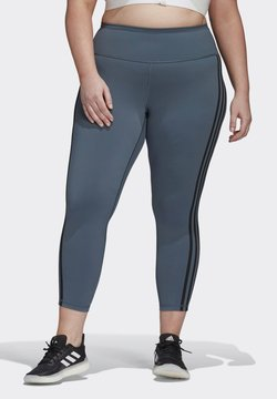 adidas Performance - BELIEVE THIS 3-STRIPES 7/8 LEGGINGS (PLUS SIZE) - Tights - green