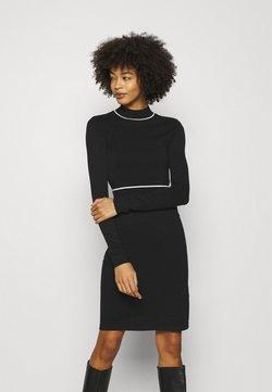 Anna Field - CONTRAST PIPING CINTURED MINI DRESS - Vestido de punto - black / white