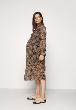 New Look Maternity - TIE NECK PRINT DRESS BELINDA - Vestido informal - brown