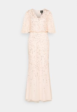Adrianna Papell - BEADED COVERED BLOUSON GOWN - Suknia balowa - flaxen