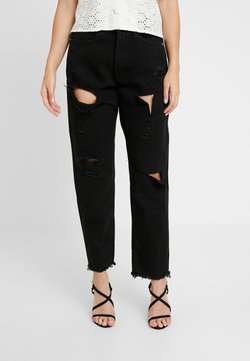 Missguided Petite - RIOT HIGH RISE MOM - Straight leg jeans - washed black